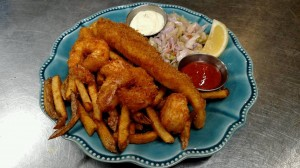 Fisherman's Platter Shrimp, scallops and Cod Available regular or gluten free